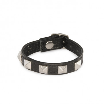 SI IGNITE Pyramid Studded Buckle Cockring, Leather