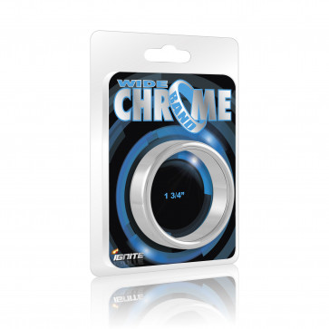 SI IGNITE Wide Chrome Band Cockring, 4,4 cm (1,75 in)