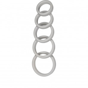 Boneyard Silicone Cockrings, 5-Pcs-Kit, Grey, 5 cm (2 in)