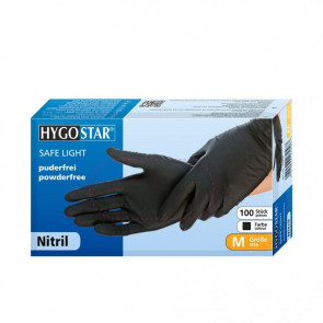 Hygostar SAFE LIGHT, Nitrile Disposable Gloves, Powder-free, Black, S, 100 pieces