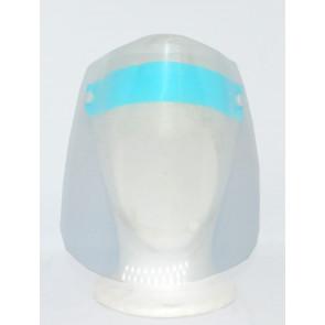 Gesichtsschutzvisier aus transparentem Kunststoff, blaues Stirnband mit elastischem Kopfband