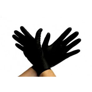 UNIGLOVES Latex Rubber Gloves, XL, Black, 10 Pieces