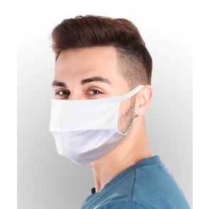 Reuseable Three Layer Face Mask with Elastic Band, White, One Size