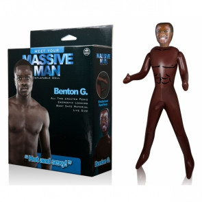 NMC Massive Man Benton G., Inflatable Love Doll with Cock, 154 cm (61 in), Brown