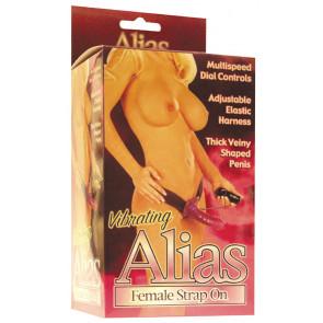 Seven Creations Alias Female Strap On, with Vibration, PVC, Purple, 18 cm (7,1 in)