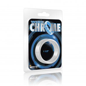 SI IGNITE Wide Chrome Band Cockring, 3,8 cm (1,5 in)